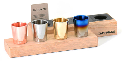 Taftware Gentlemens Shot Glass Set - Copper - Signature Titanium - Brass - Stainless