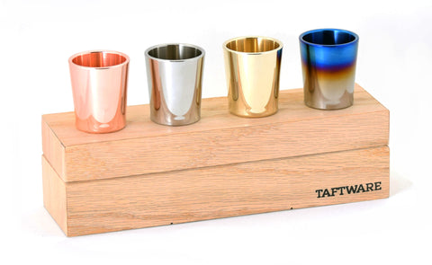 Taftware Gentlemens Shot Glass Set - Signature Titanium - Handmade Wood Box