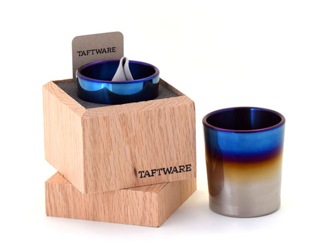 Taftware Signature Titanium Tumbler in Handmade Wood Box