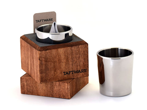 Taftware Stainless Steel Tumbler in Handmade Wood Box