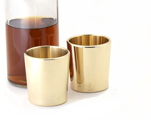 Taftware Brass Metal Tumbler Set with Whiskey Decanter