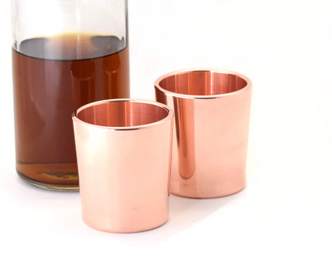 Taftware Copper Metal Tumbler Set with Whiskey Decanter