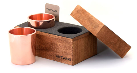Taftware Double Tumbler Set in Handmade Wood Box