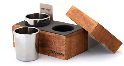 Taftware Polished Stainless Steel Metal Tumbler Set of 2 in Handmade Wood Box