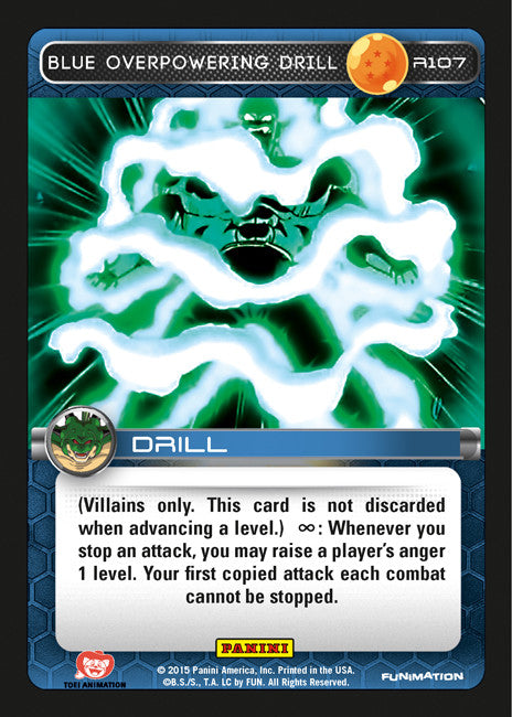 #R107 Blue Overpowering Drill - Foil (Heroes and Villains)