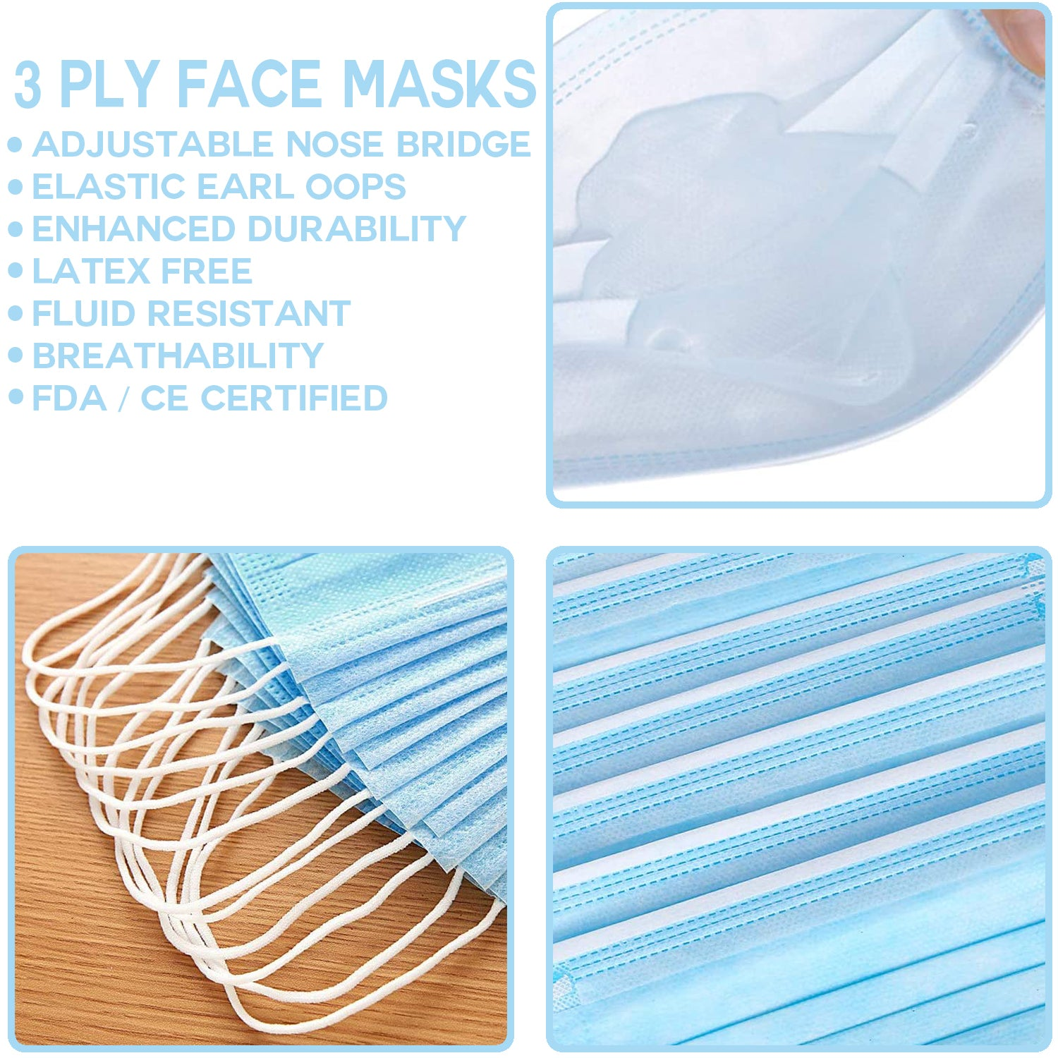 Childrens 3ply Disposable Facemasks