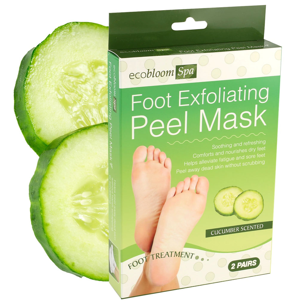 2 Pairs of Exfoliating Foot Peel Mask Treatments - Cucumber Scented
