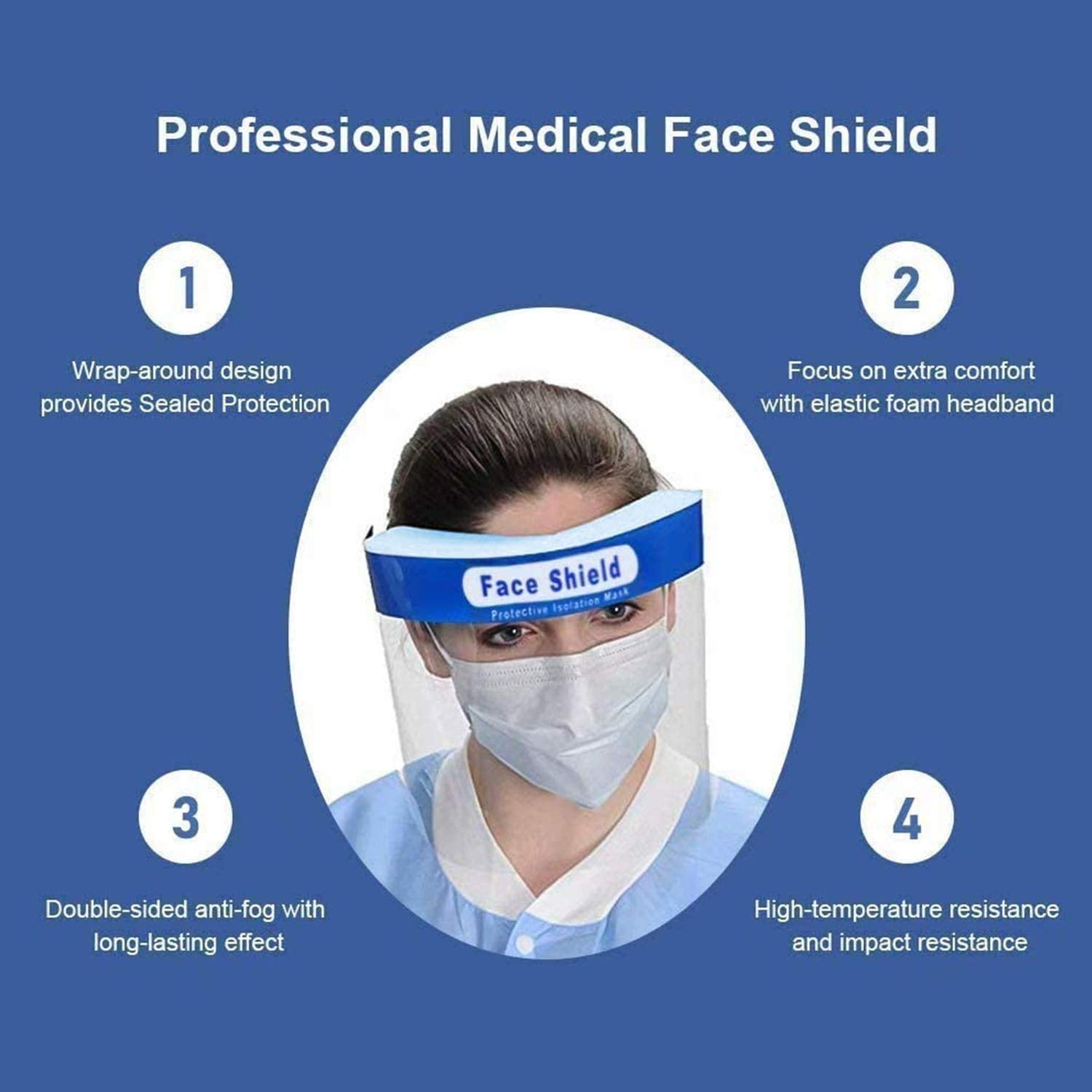 "5 Pack of Protective Face Shields ""BRADS DEAL 50% DISCOUNT AUTOMATICALLY APPLIED IN CART"""