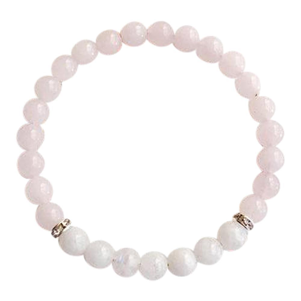 Moonstone & Rose Quartz Sterling Silver Bracelet