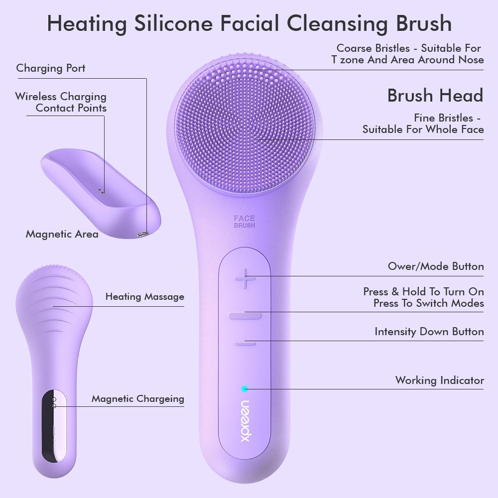 Rechargeable Portable Intensive Cleansing Facial Brush with Heat