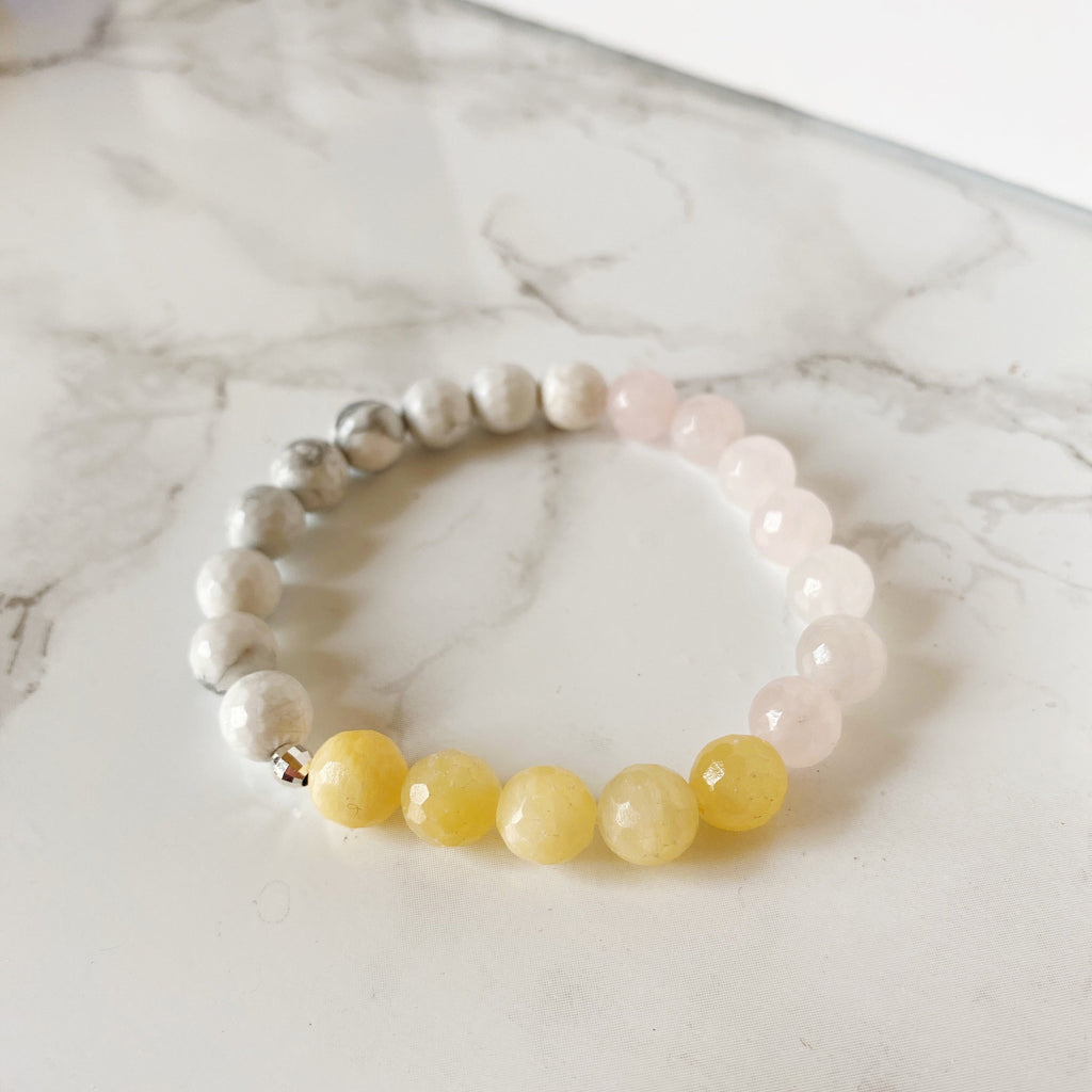 Rose Quartz, White Howlite & Yellow Calcite Bracelet