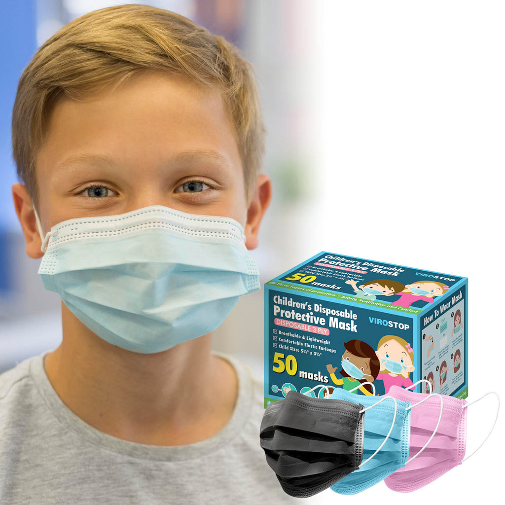 "Childrens 3Ply Disposable Facemasks- 50 Piece Qty ""BRADS DEAL 50% DISCOUNT AUTOMATICALLY APPLIED IN CART"""