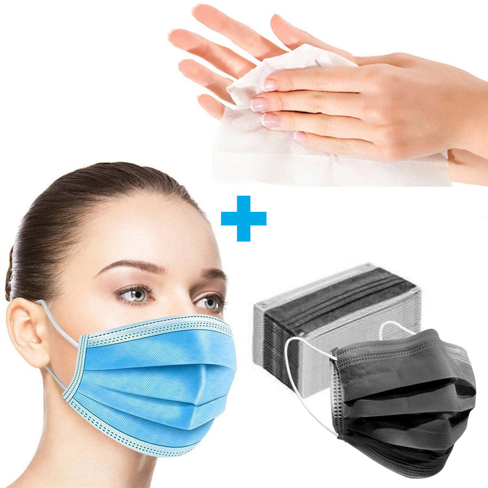 3 Ply Disposable PPE Masks 50 Pack + FREE 10 Pack of Antibacterial Wipes-Travel Size
