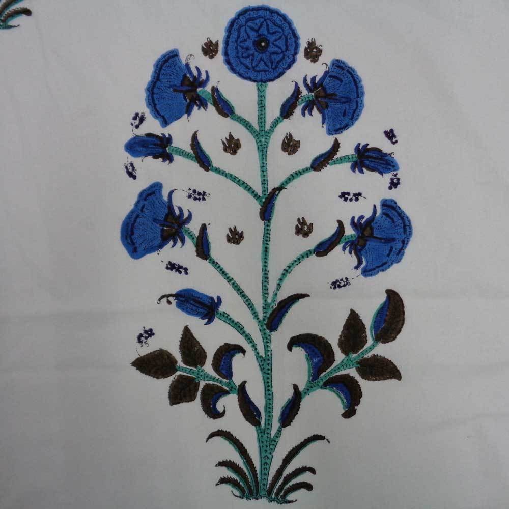 Regal Blue Floral Handcrafted Tablecloth