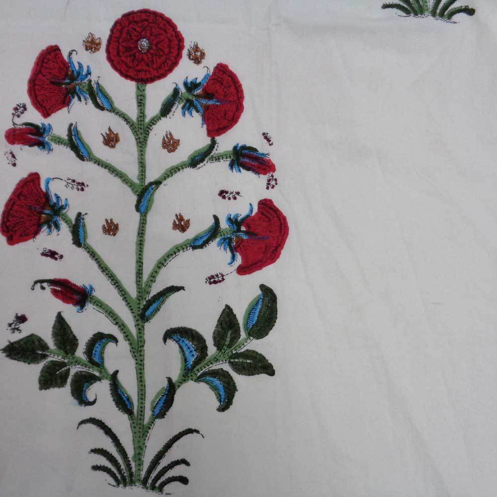 Regal Ruby Floral Handcrafted Tablecloth