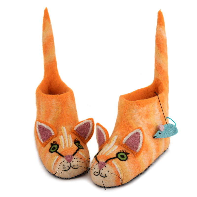 Adult's Ginger Cat Slippers