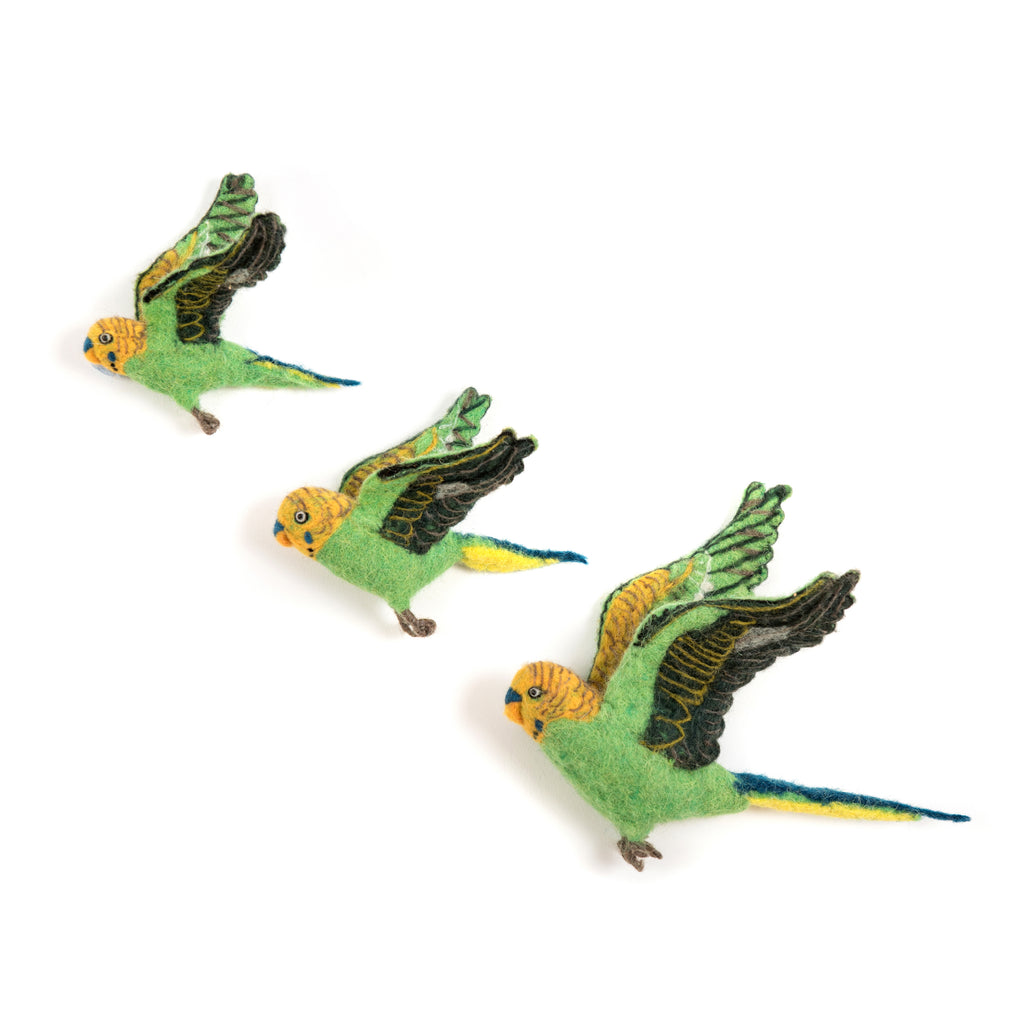 Flight of Green Budgies