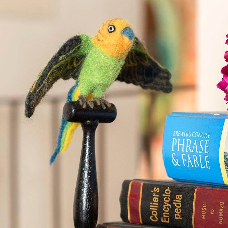 Mounted Green Budgie