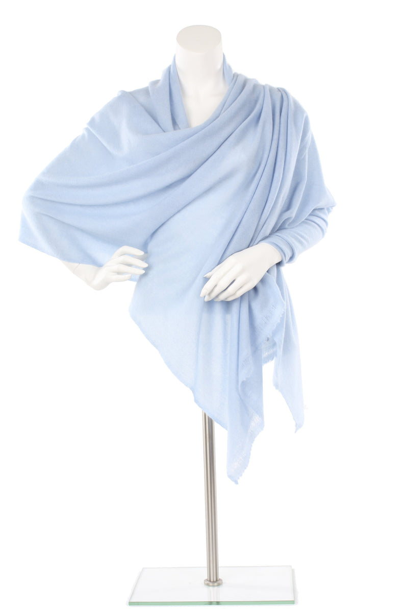 Faded Denim Cashmere Oversized Scarf
