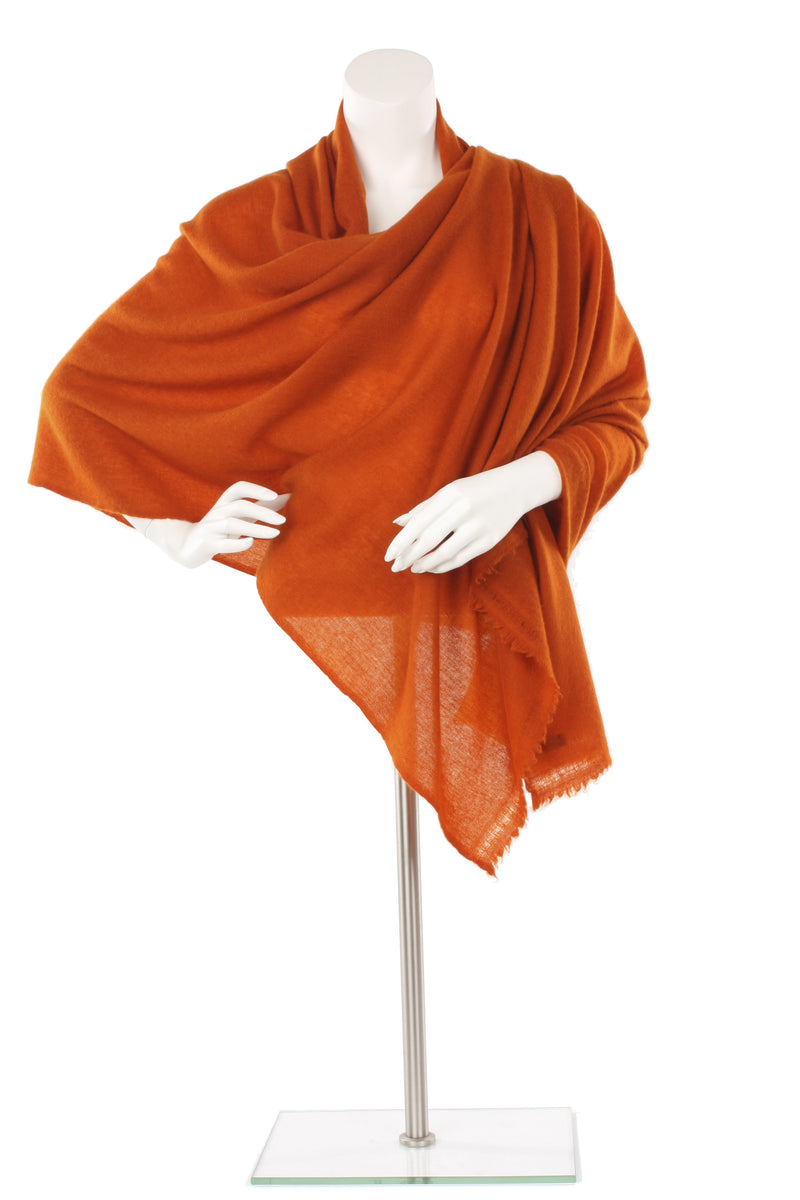Burnt Orange Cashmere Oversized Scarf