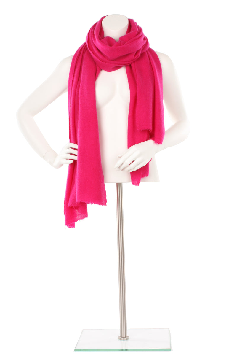 Hot Deep Pink Cashmere Oversized Scarf