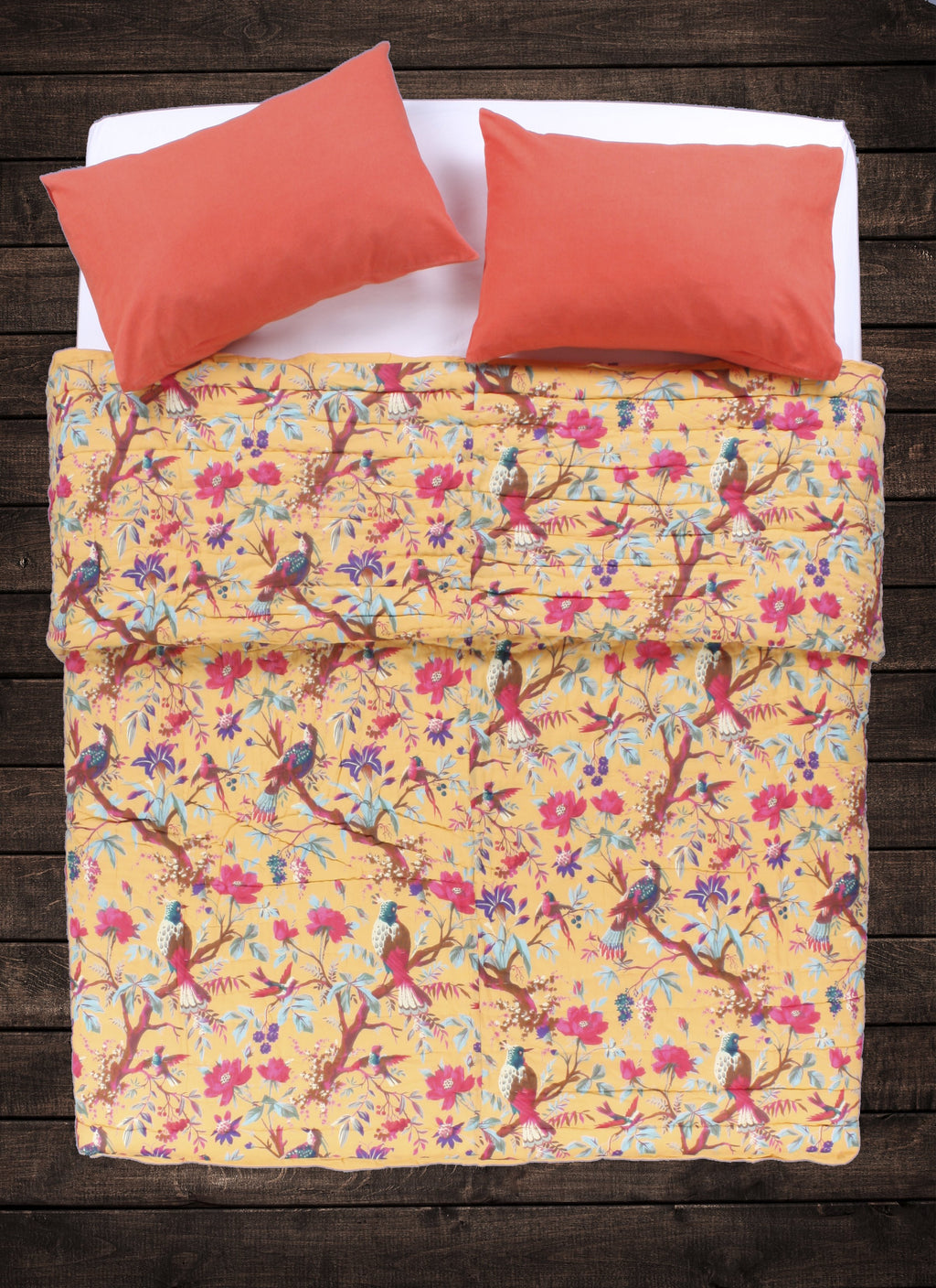 Avian Floral Quilt - Buttery Yellow