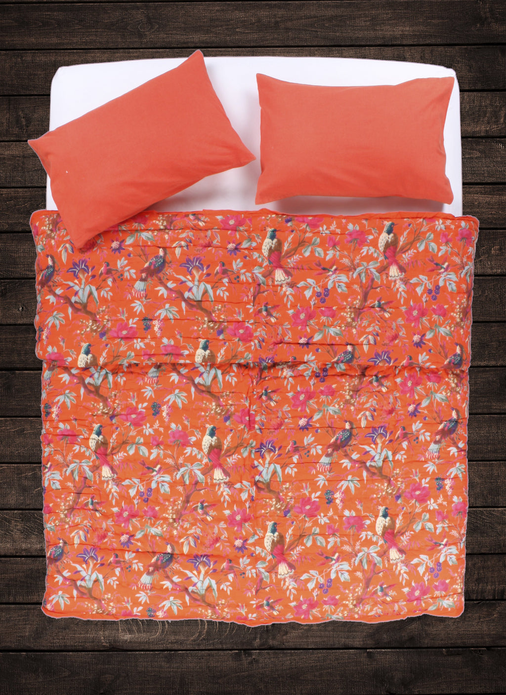 Avian Floral Quilt - Brilliant Orange