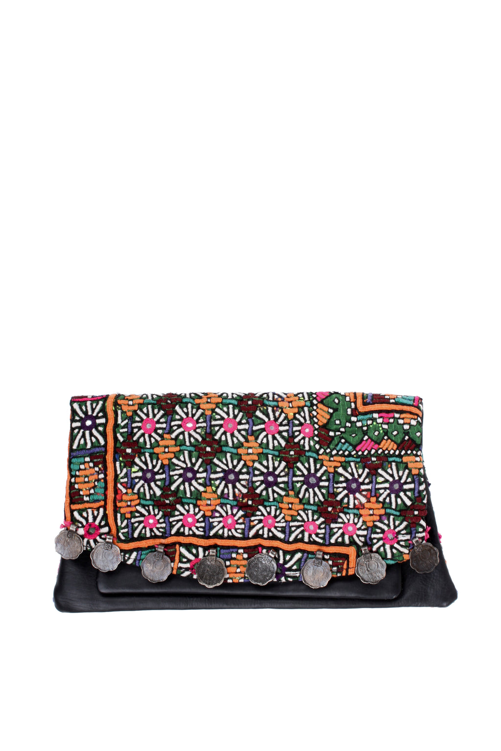 Banjara and Leather Clutch Purse