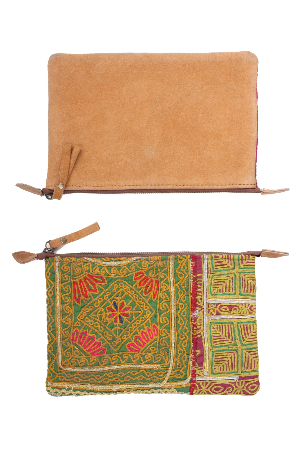 Suede Backed Embroidered Pouch