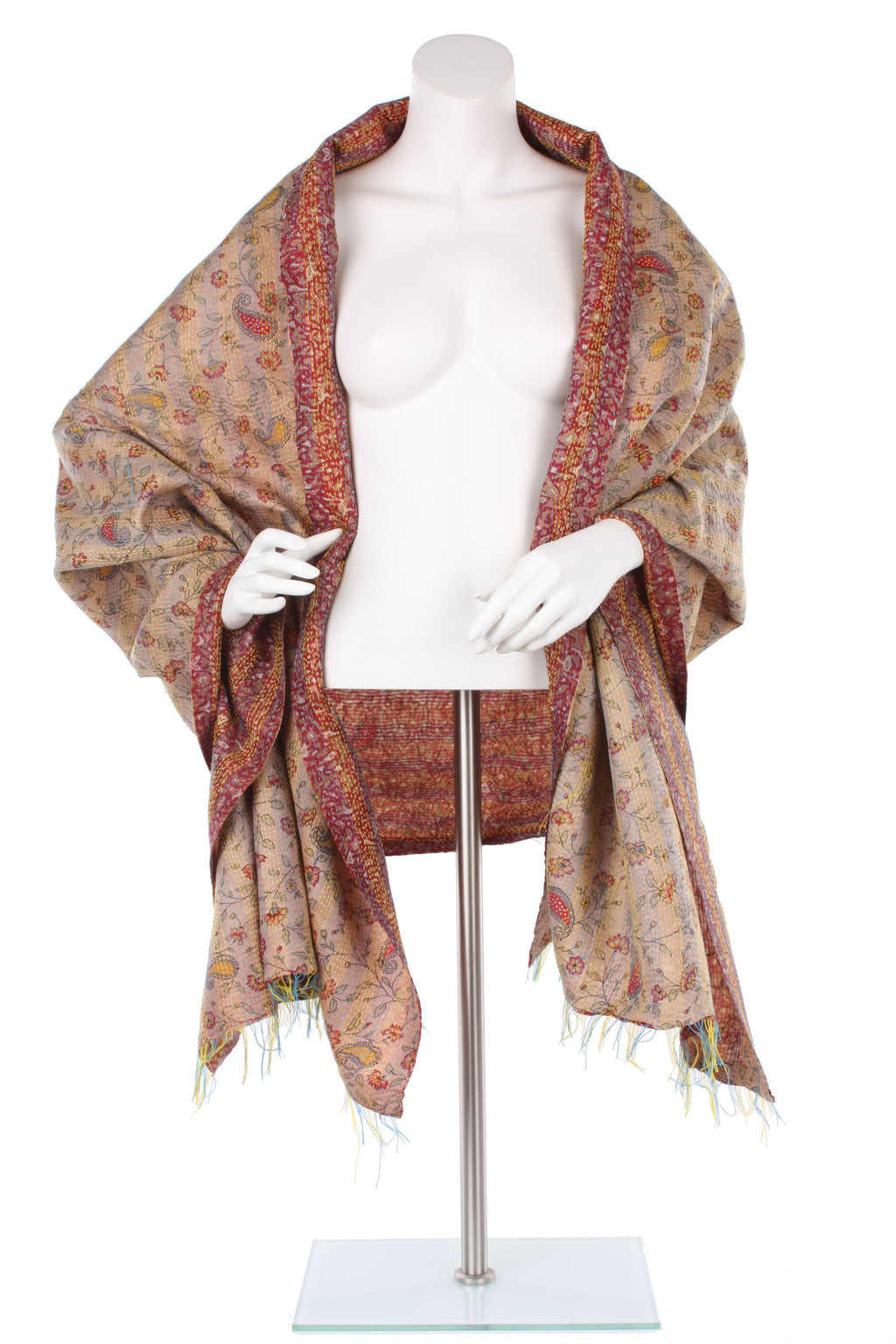 Vintage Silk Kantha Wrap - Rose
