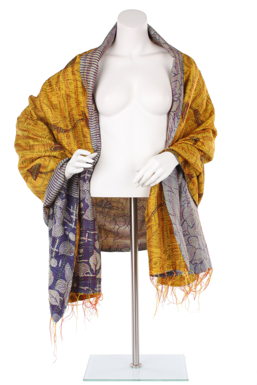 Vintage Silk Kantha Wrap - Sunflower