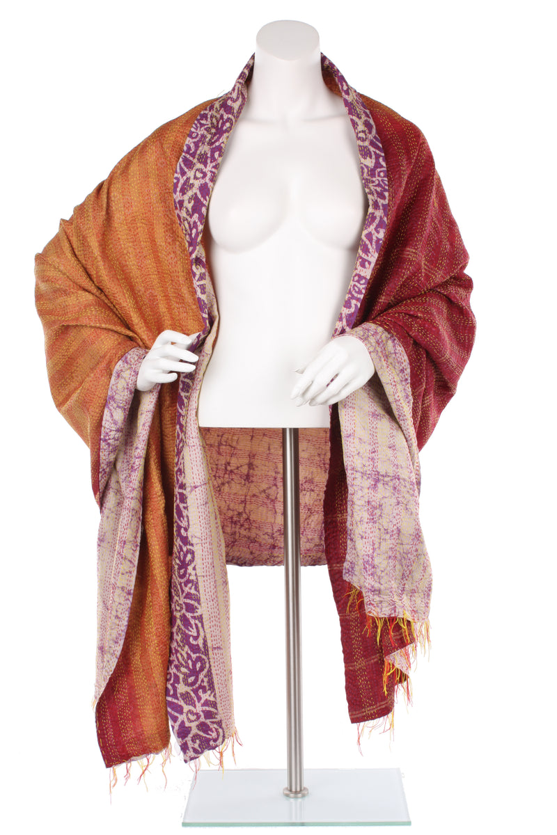 Vintage Silk Kantha Wrap - Blood Orange