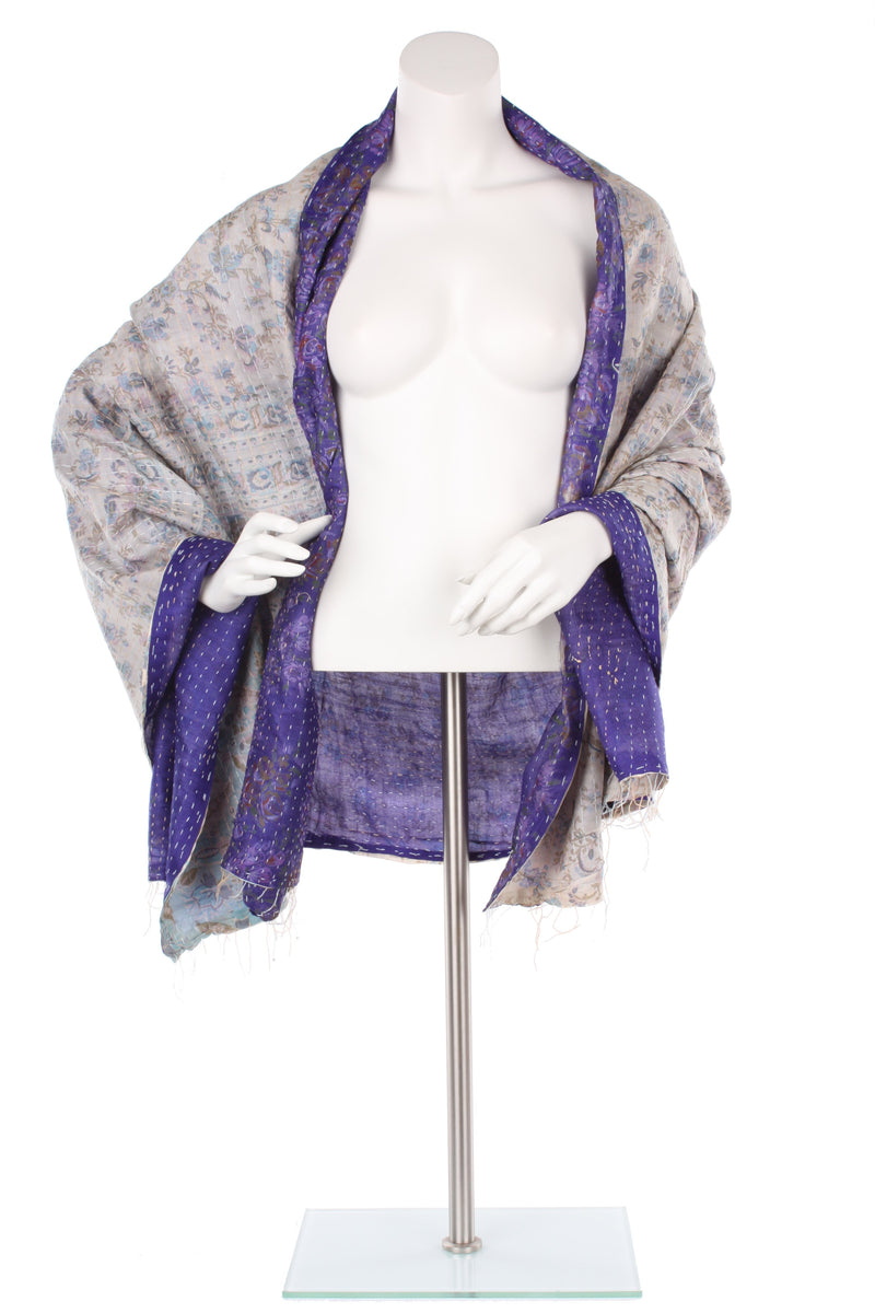 Vintage Silk Kantha Wrap - Royal Purple