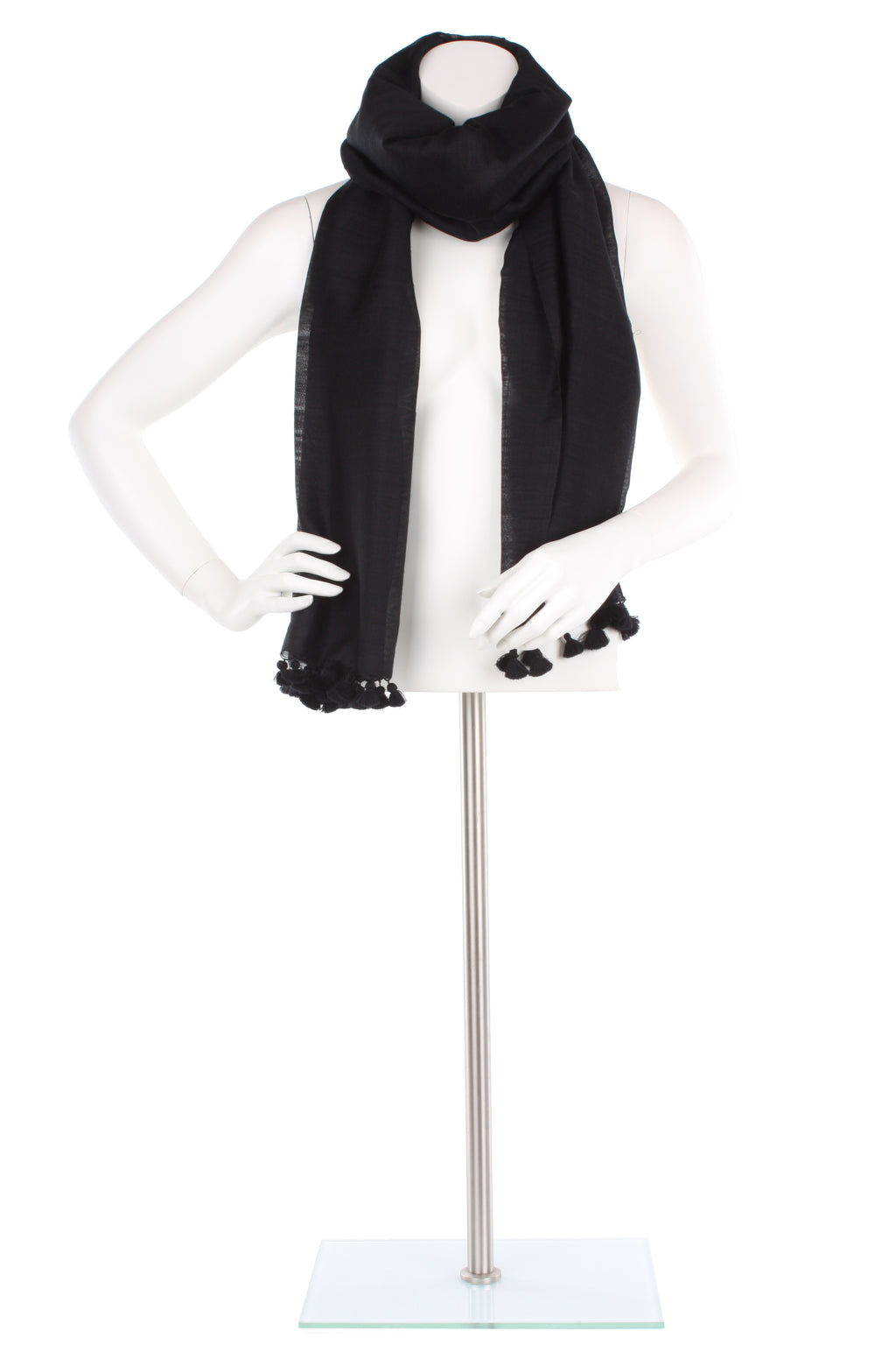 Black Oversized Silk Wool Pom Pom Scarf