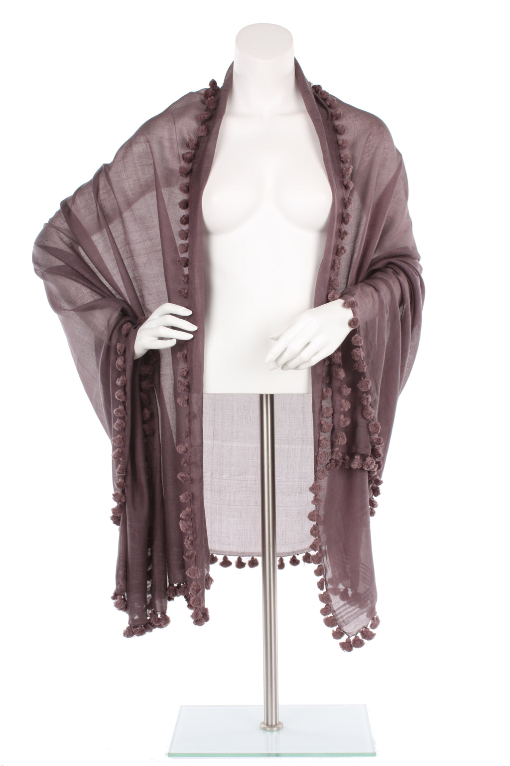 Dusty Plum Silk Cotton Pom Pom Wrap