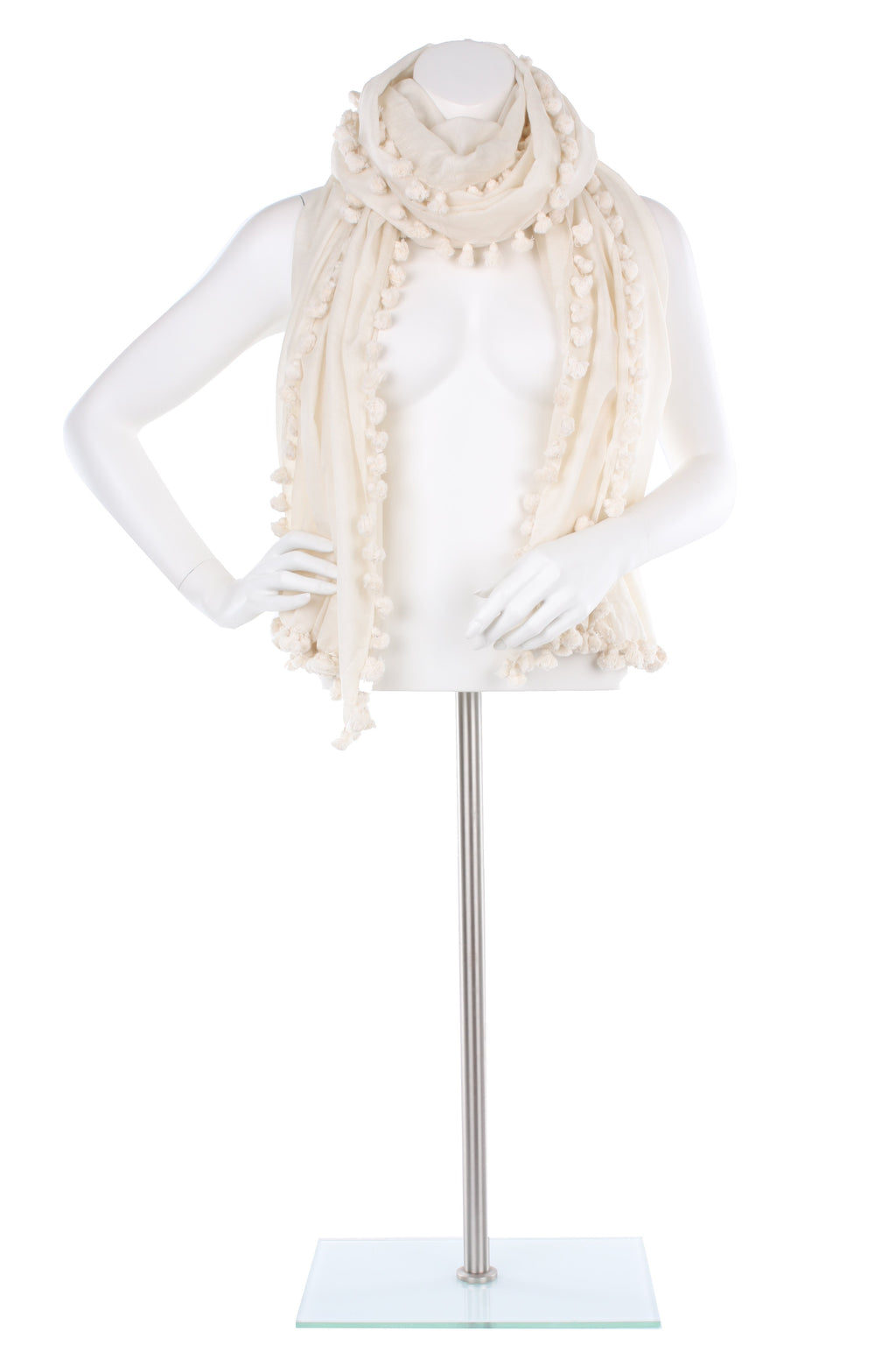 Cream Silk Cotton Pom Pom Wrap