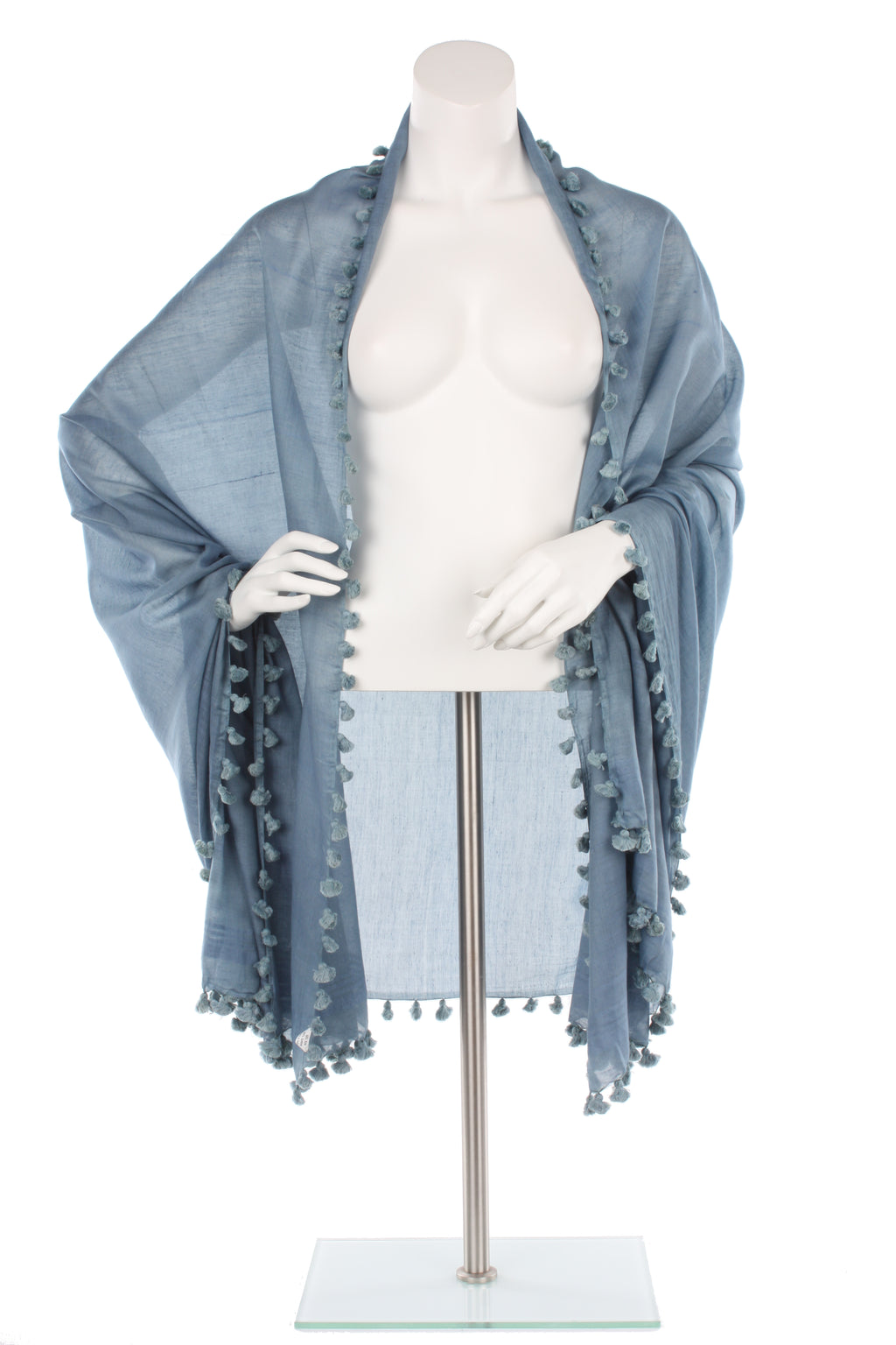 Slate Grey Blue Silk Cotton Pom Pom Wrap