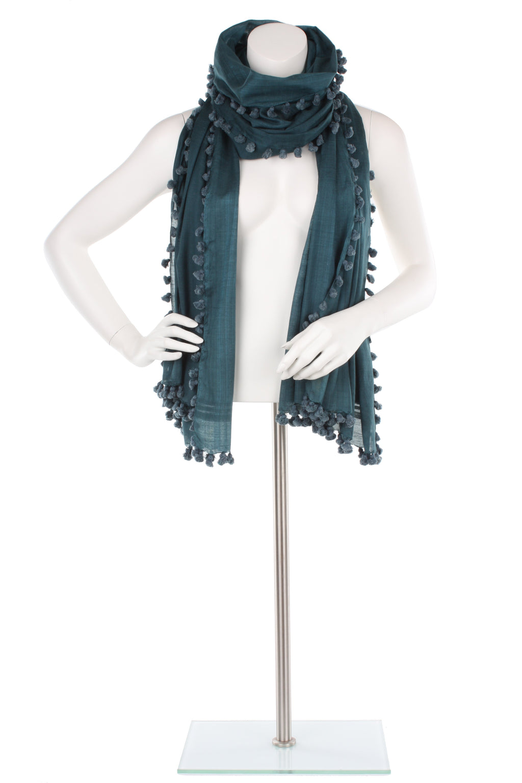 Teal Pom Pom Silk Cotton Wrap