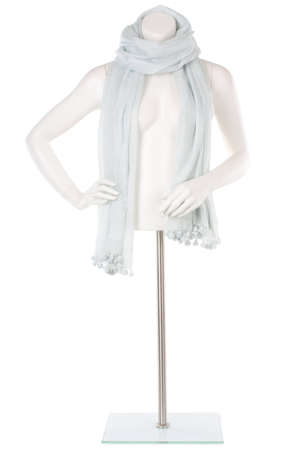Duck Egg Blue Silk Cotton Pom Pom Wrap
