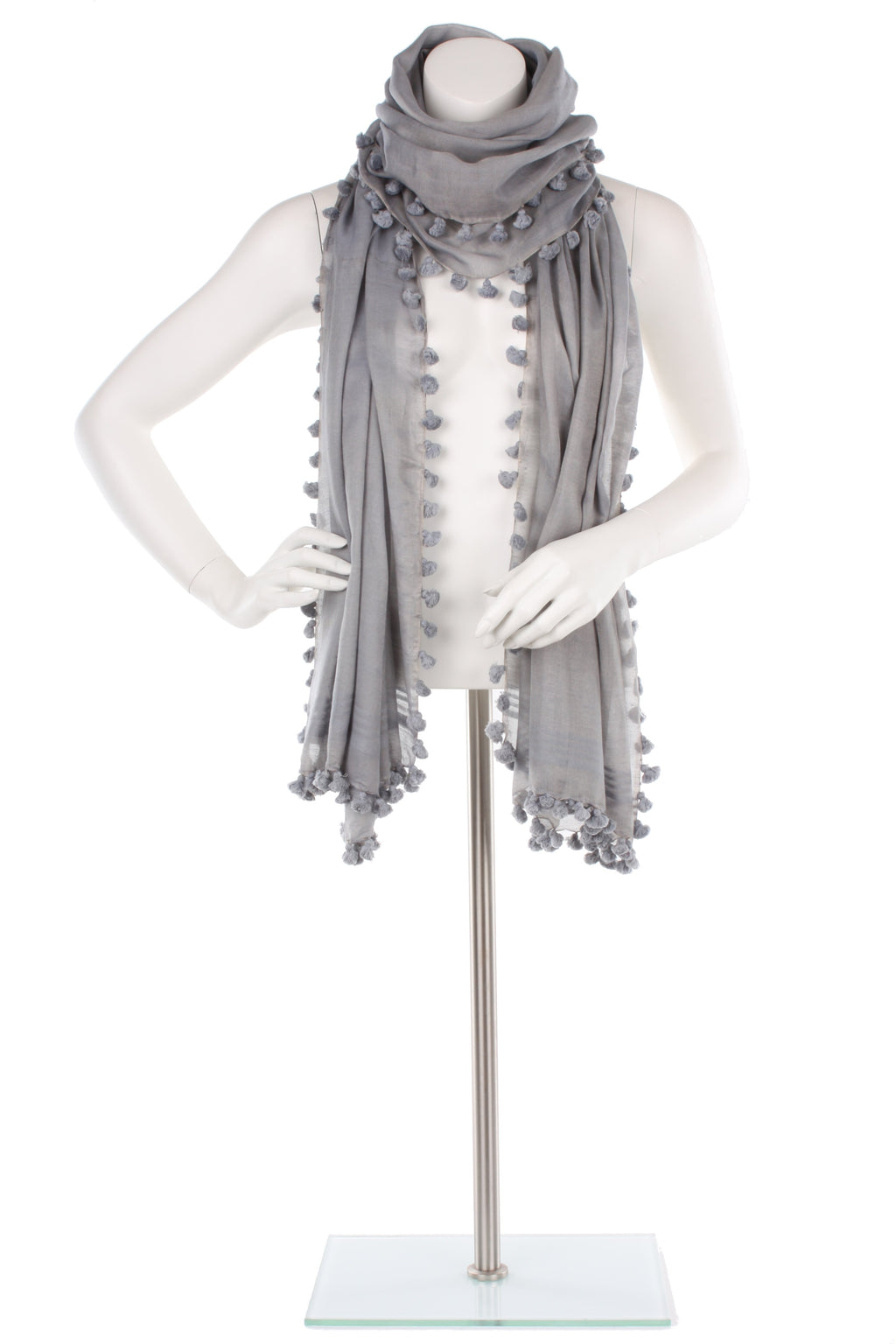 Light Grey Silk Cotton Pom Pom Wrap