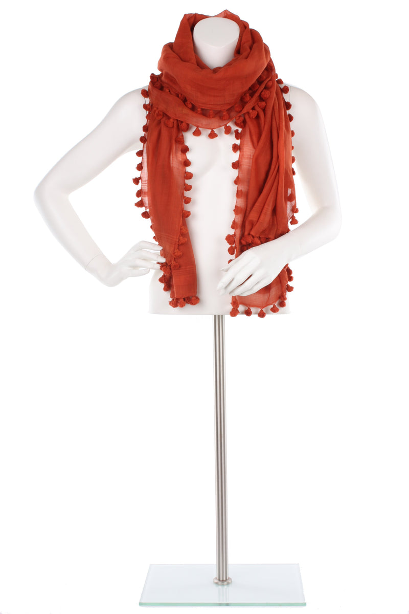 Terracotta Silk Cotton Pom Pom Wrap