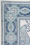 Queen Flat Sheet - Blue Grey Paisley