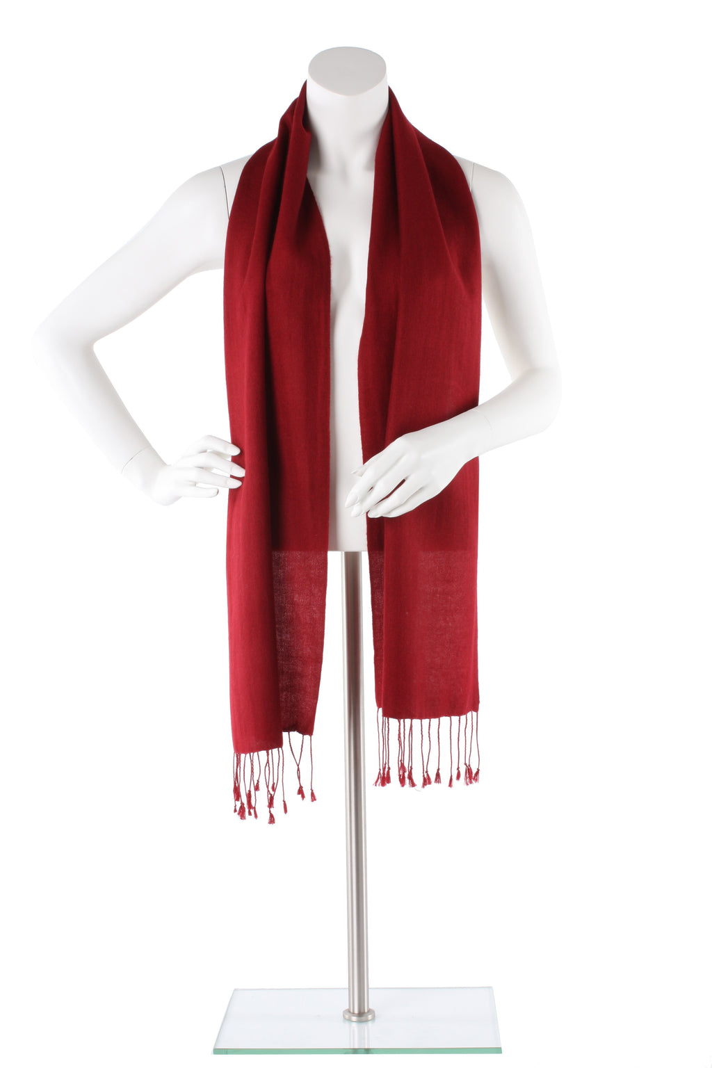 Claret Cashmere and Silk Scarf