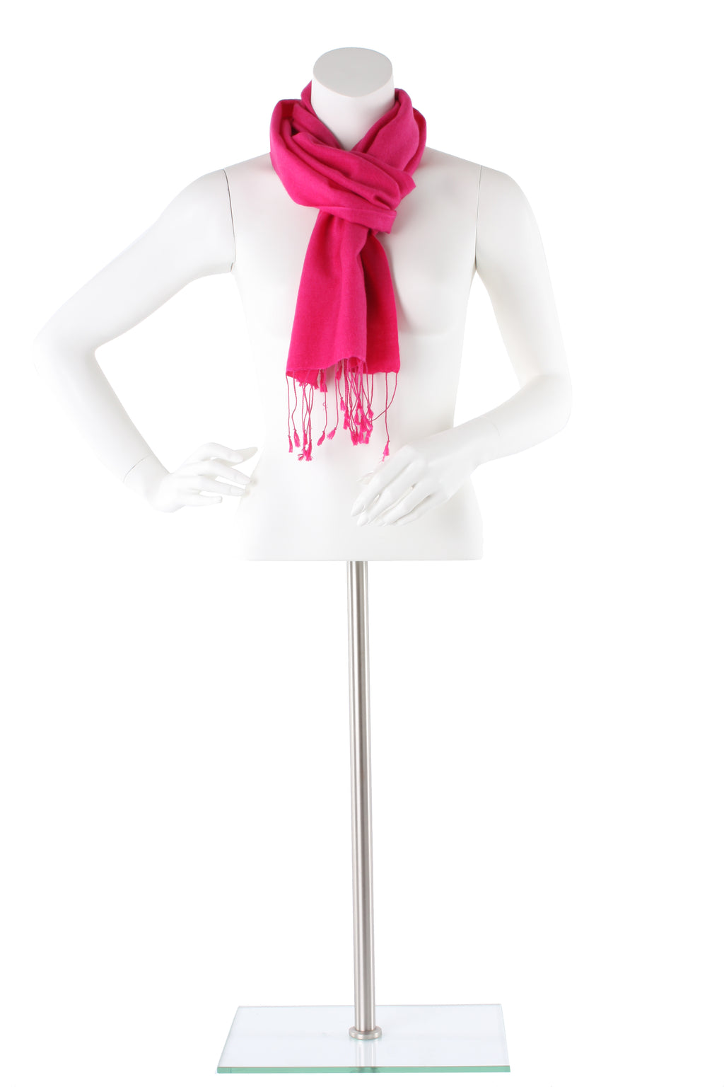Hot Deep Pink Cashmere and Silk Scarf