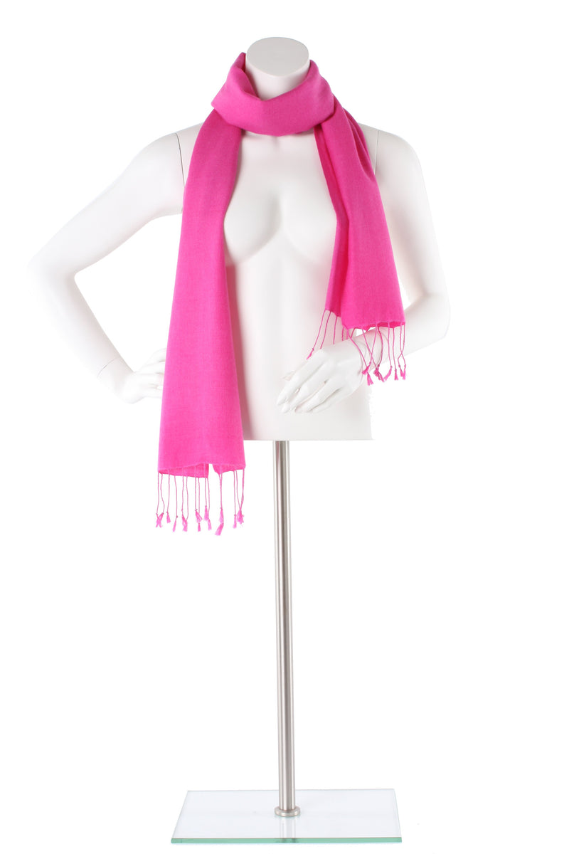 Flamingo Pink Cashmere and Silk Scarf