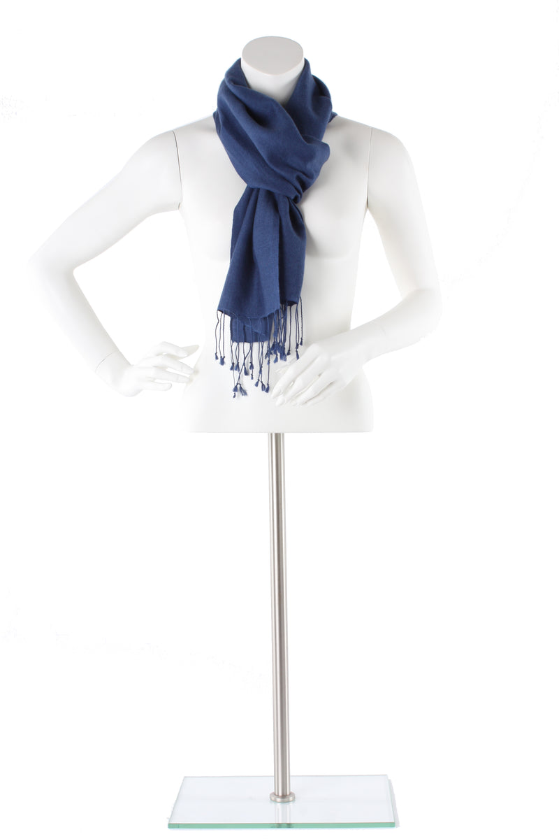 Rich Blue Cashmere and Silk Scarf