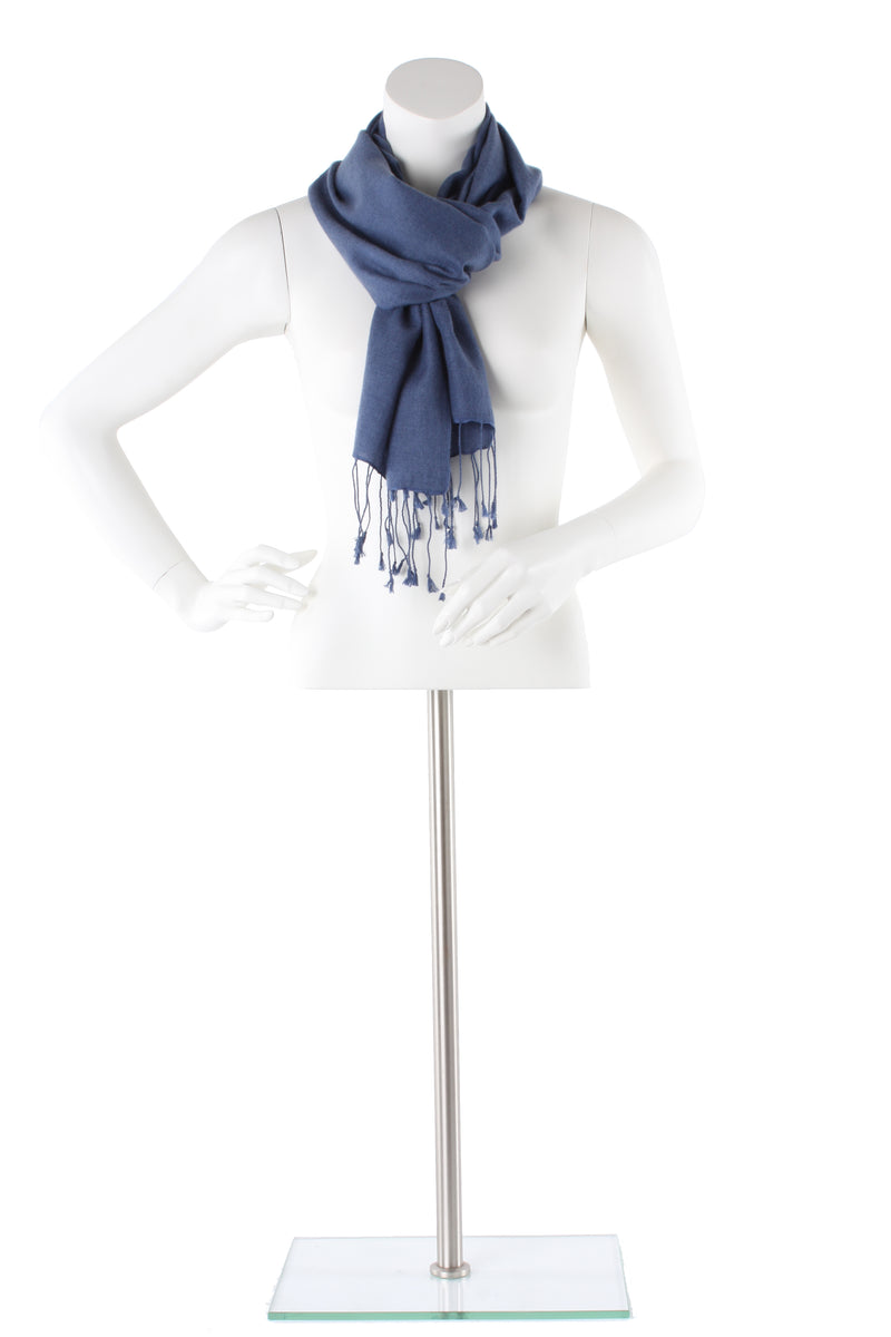 Mountain Blue Cashmere and Silk Scarf