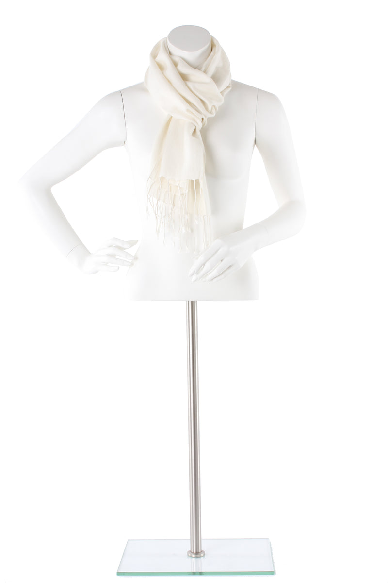 Cream Cashmere and Silk Scarf