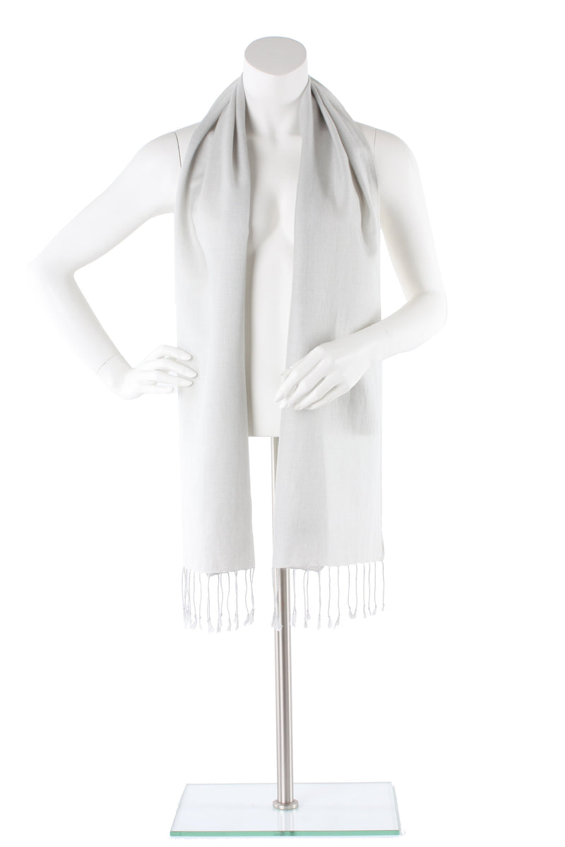 Pale Smoke Cashmere and Silk Scarf