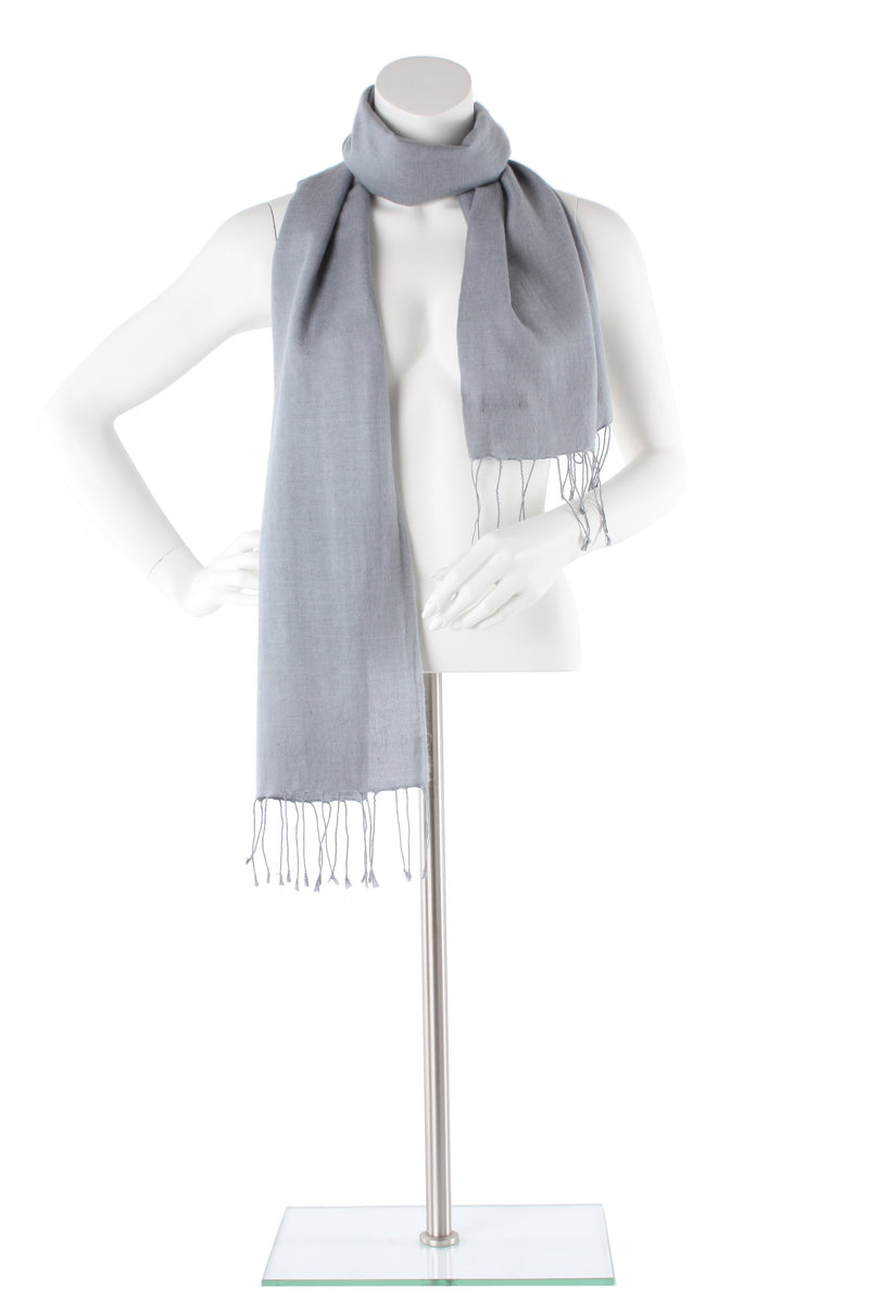 Coin Silver Grey Cashmere and Silk Scarf